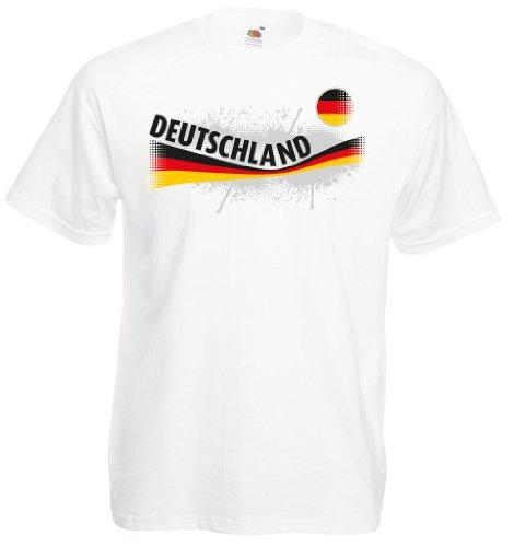 world-of-shirt Herren T-Shirt Deutschland Vintage Shirt|weiß XXXL