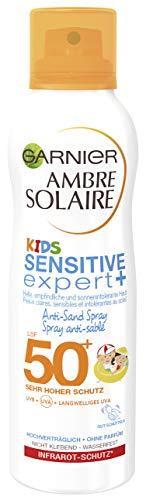 Garnier Ambre Solaire Kids Sensitive expert+ Anti-Sand Spray, LSF 50+, sandabweisend, zieht schnell ein, sehr hoher Schutz, wasserfest, 200 ml
