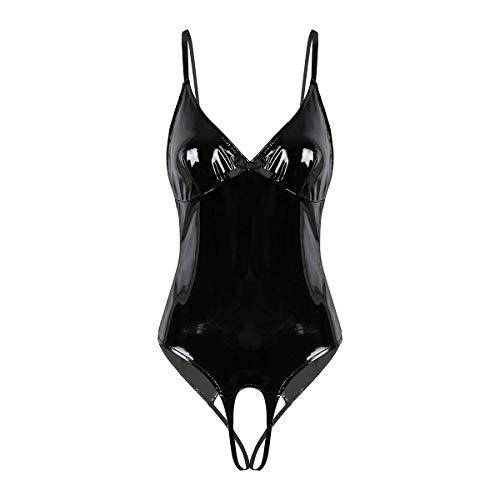 Agoky Damen sexy Ouvert Body Lack Leder Bodysuit mit Neckholder Top Stringbody transparente Netz BH Rückenfrei offener Schritt Unterwäsche S-XL Schwarz C X-Large