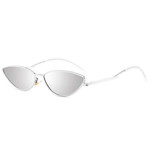 AMZTM Occhiali da Sole Gatto Piccoli - Occhiali da Vista Vintage per Ragazze Donne Cornice D'argento Lente D'argento Protezione UV400 HD Vision Occhiali da Sole Sottili E Lunghi