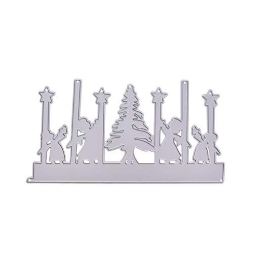(Healifty Stanzformen Metall Schablone Template Mold DIY Metall Präge Schablone Für Album Scrapbooking Papier Karte Kunst Handwerk Decor (Weihnachtsbaum und Kinder))
