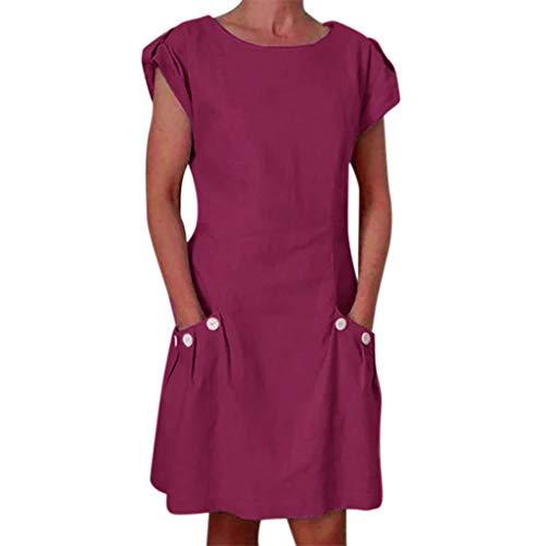 eid Leinen Kleider Damen Rundhals Kurzarm Strandkleider Einfarbig A-Linie Kleid Boho Knielang Kleid Baumwolle Leinen Tunika Kleid Maxikleid mit Taschen ()