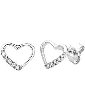 Miore Ohrringe Damen, Schmuck Weißgold, Ohrstecker Herz mit Diamant Brillanten  9 Karat / 375 Gold