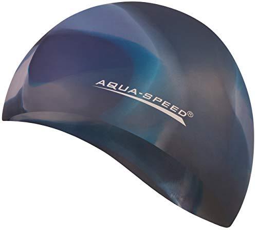 Aqua Speed Badekappe Herren | Silikon | Bademütze | Badehaube | Mehrfarbig + Aufbewahrungstasche Bunt / 84