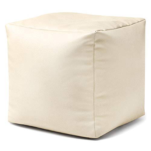 Puff CUBO de imitación cuero CREMA – Puff reposapiés de Bean Bag Bazaar®