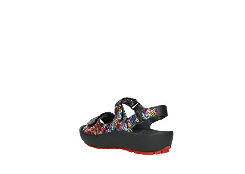 Wolky Womens Rio Leather Sandals 497 multi-black craquelé leather