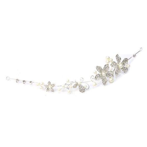 1 x Nuevo Diadema Tiara Flor Cristal Perla de Imitación Metal para Boda Novia