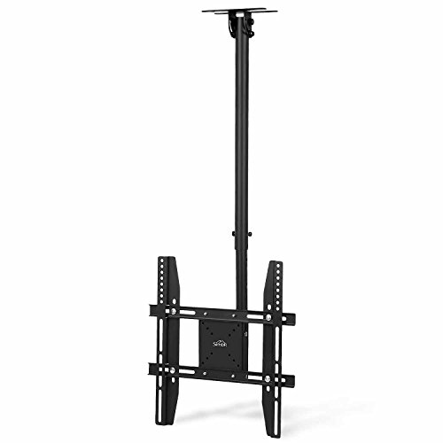 SIMBR TV Ceiling Mount Bracket, Tilts, Swivels and Height Adjustable, Fits most 22-55'' LCD LED Plasma Monitor Screen Display up to VESA 400x400 and 50kg/110lb Load Capacity