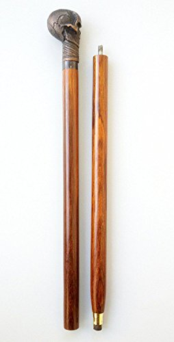 Walking Sticks Gehstock, Messing, Holz, Antik-Finish, faltbar, Totenkopf mit Stick skulll Kopf-Dekor