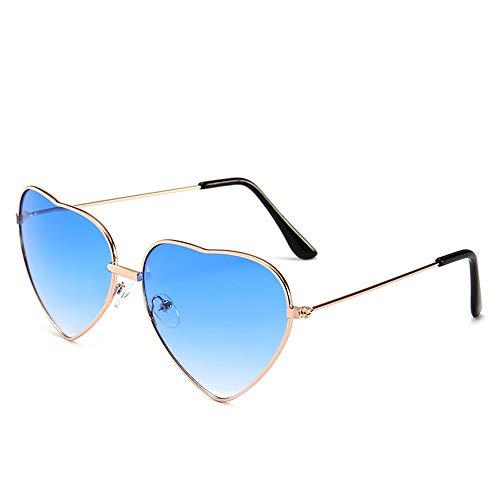 HUWAIYUNDONG Sonnenbrillen,Süßigkeit-Farben-Liebes-Herz-Geformte Sonnenbrille-Frauen-Metallrahmen-Retro- Sonnenbrille-Blau-Steigung