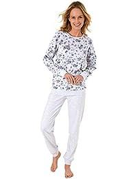 19fec9833262af NORMANN WÄSCHEFABRIK Eleganter Damen Pyjama Langarm mit Bündchen in Kuschel  Interlock Qualität 281 201 96 186
