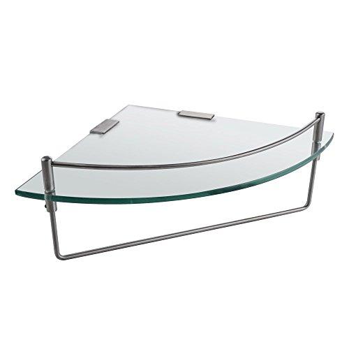 Kes mensola angolare da bagno con fondo in vetro e asta con portasciugamani vetro temperato 25 x 35 cm, bgs2200a-2