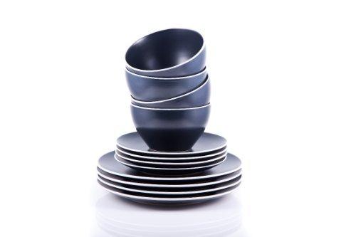 Sabichi 12-Piece Stoneware Merlot Graphite Dinner Set, Black
