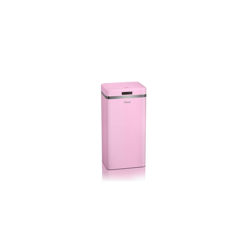 Swan Retro Square Sensor Pink Bin - 45 Litre