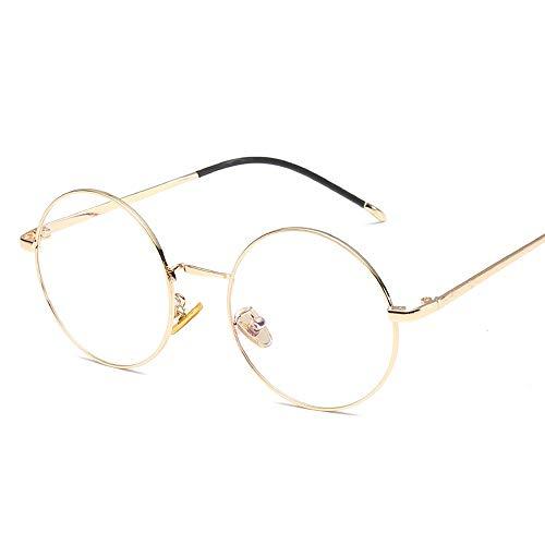 Trend Brillengestell Metall Rund Classic Fashion Brillengestell Retro Plain Glasses Brille (Color : 02Gold, Size : Kostenlos)