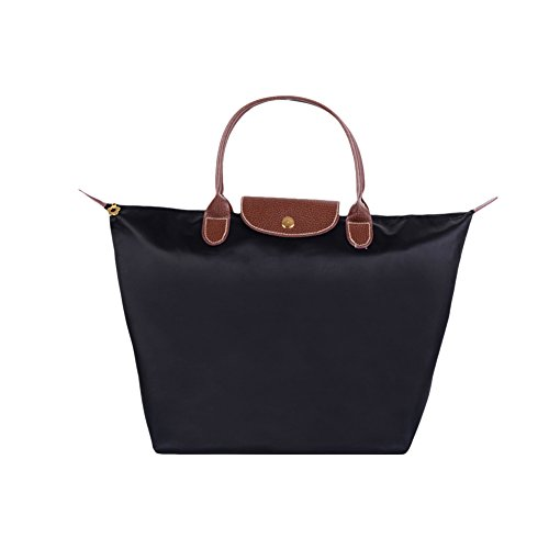 Fletion Nylon Wasserdichte Damen Handtasche Schulterhandtaschen Schulter Faltbare Einkaufstüten Reisetasche, Schwarz,  Größe S, LxHxB:  30x23x12 cm, Grifflänge 10 cm -