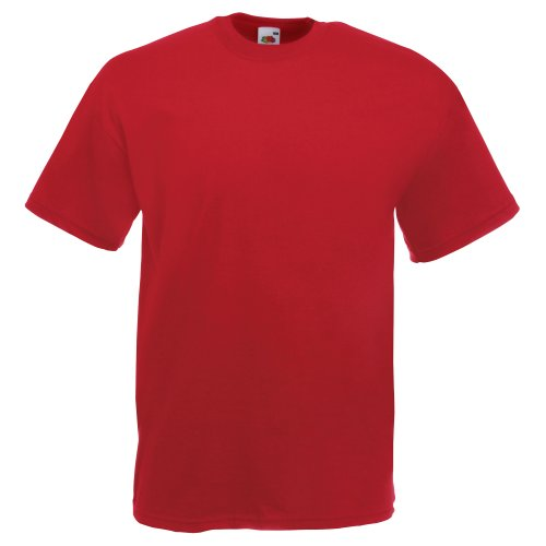 Fruit of the Loom - Heavy Cotton Tee Shirt, T-shirt da uomo Mattone