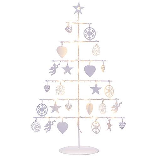 GEK Dekobaum LED Weihnachten aus Metall Weiss mit Dekoanhängern, 25 LED warmweiss, Höhe 42cm
