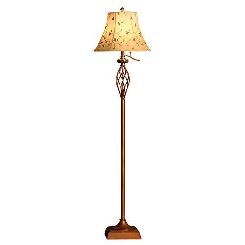 LJ lampadaire Européen rétro Hauteur 160 * 24cm Corps de la lampe en fer Couvercle de la lampe en tissu Interrupteur à levier Convient pour la chambre salon (sans ampoule) ( Couleur : A )
