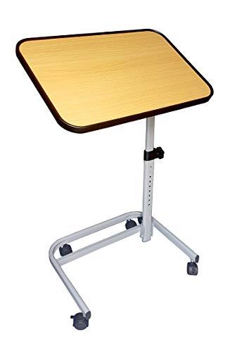 FabaCare Beistelltisch RMF, höhenverstellbarer Betttisch auf Rollen, sehr stabil, Tisch für Bett mit Neigung, klappbar, Winkel verstellbar, Braun -