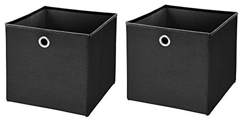 2 Stück Faltbox Schwarz 28 x 28 x 28 cm Aufbewahrungsbox faltbar