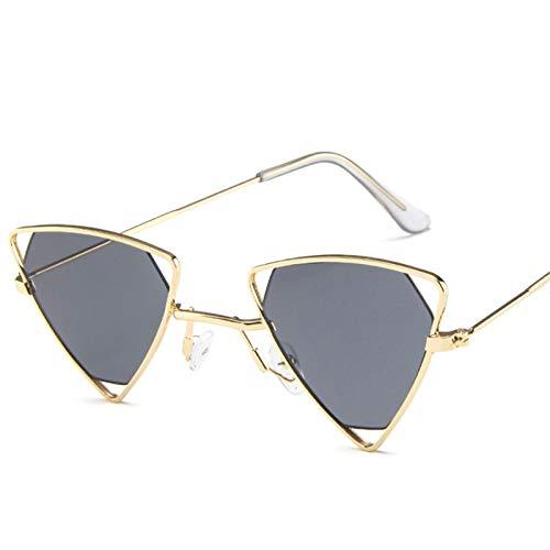 XZANTE Neue Sonnenbrille Mode Weibliche Punk Wind Dreieckige Hohl Sonnenbrille Brille M?nner Personalisierte Metall Sonnenbrille-Grau + Gold