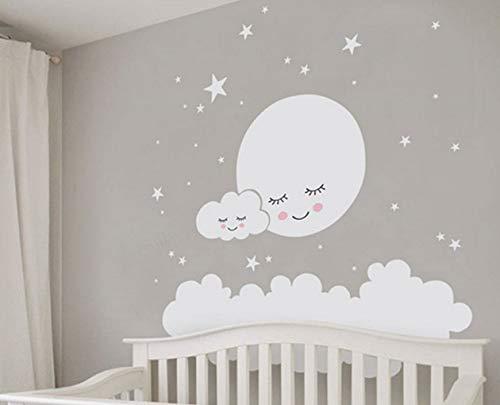 Lächelnde Gesichter Sterne Und Weiße Wolken Vinyl Wandaufkleber Lustige Cartoon Kunst Wandtattoos für Kinderzimmer Schlafzimmer Kinderzimmer Wohnkultur 60x60 cm (Malen Gesicht Giftig Nicht)