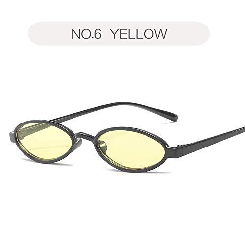 ZHAS High-End-Brille Kleine ovale Sonnenbrille Männer Retro-Runde Sonnenbrille Weiblich Männlich Tinny Eyewear Shades Für Frauen Personalisierte High-End-Sonnenbrille GELB