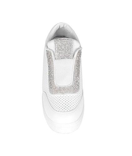 Femmes Baskets Sneakers Compensées Uni Strass Argentés Mode Blanc