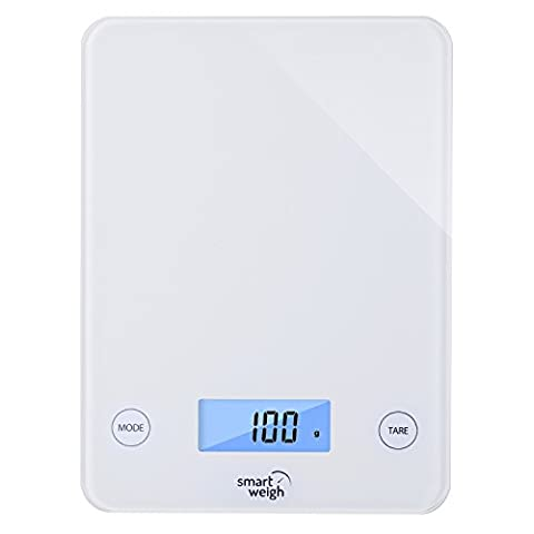 Smart Weigh Digital Glass Top Kitchen and Food Scale, 5- Unit Modes, Liquid Measurement Technology, Professional Design, White