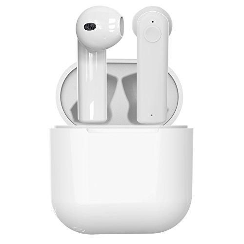 Toscido cuffie bluetooth senza fili stereo auricolari bluetooth 4.2 in-ear auricolare sport, incluso scatola di ricarica,riduzione del rumore per apple airpods, iphone x/8/7/7s/6/6s samsung, android - bianco