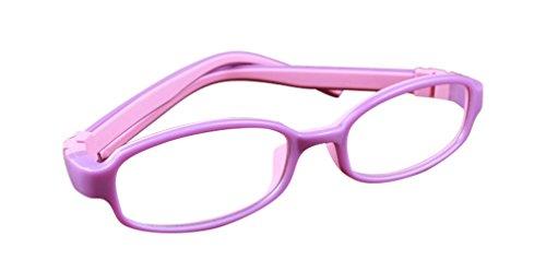 De Ding Kinder Silikon Optische Kurzsichtigkeit Brille Full Frame Lila Pink