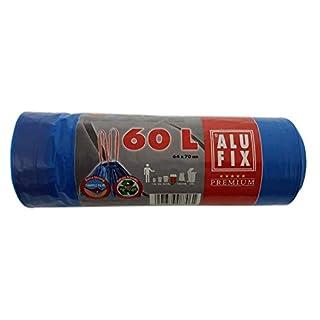 Alufix Premium Drawstring Bin Bags 60L, 64x70 cm, 10 pcs/roll, Trash Bin Liners, Blue, Made in EU