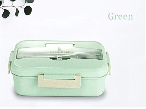 ZUEN Unch Box Wheat Straw Dinnerware Food Storage Container Children Kids School Office Portable Bento Box,Green Green Food Storage