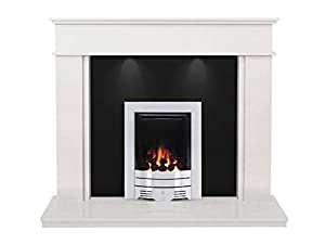 The Portland Sparkly White & Granite with Crystal Diamond Contemporary Fire Brushed Steel, 54 Inch