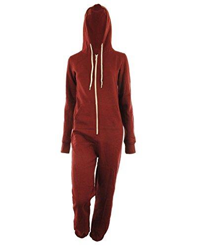 Damen Unisex Fleece ausgekleidet Plain Farbige Kapuzen mit Cuff Reißverschluss vorne Damen Jumpsuit Overall Onesie (M/L 40/42, Wein) (Reißverschluss Kapuze-fleece Vorne-mit)