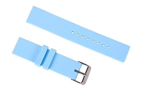 14mm hellblau glatte Gummiuhrenarmband rutschsicheren Silikon-Sport-Uhr-Armbänder für Frauen gerade Ende