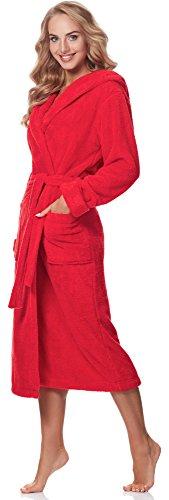 Merry Style Damen Bademantel mit Kapuze 5L1 Rot