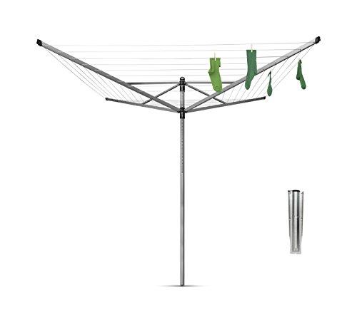 Brabantia Lift-O-Matic Tendedero de Jardín con Soporte, Acero Inoxidable, Gris Metalizado, 50...