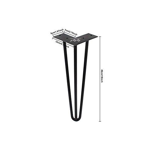 hahaemall Industrie Look modernes Mid Century New Style 3Rod 45,7cm Haarspange Metall Holz Tisch Stahl Beine Set von 4PCS (45,7cm/45cm hoch), ohne die Holzbrett (Pub-tische Und Stühle-sets)