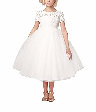 FEESHOW Girls Children Dress Tulle Layers Wedding Pageant Dress Flowers Girl Dresses Formal Party Dress White 4 Years