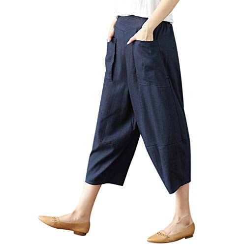 WOZOW Harem Pants Damen Capri Bettwäsche Baumwolle Solid Einfarbig Pockets Casual Loose Hippie High Waist Bequem Yoga Saggy Crop Trousers (XL,Marine) -