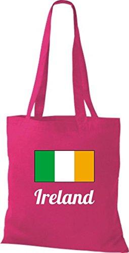 ShirtInStyle Stoffbeutel Baumwolltasche Länderjute Ireland Irland Farbe Pink fuchsia