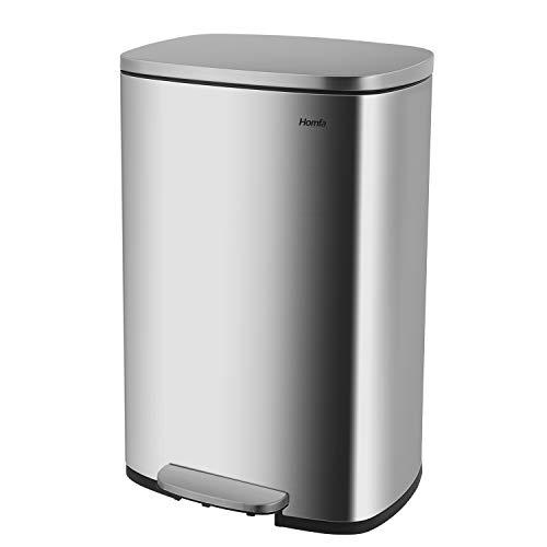 Homfa Mülleimer 50L Abfalleimer aus Edelstahl Müllbehälter mit Deckel und innerem Eimer Abfallbehälter Tretmülleimer für die Küche Büro Ausstellungshalle