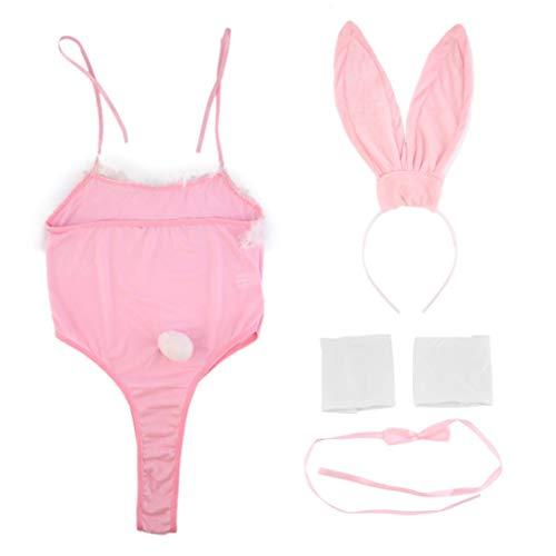Klassische Kostüm Cosplay Sexy Hot Fancy Bunny Rabbit Dessous Set Halfter Kleid Versuchung Baby Doll Uniform Party Pink