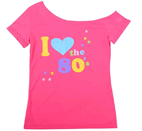 Ladies 'I Love 80s' Pink or Black Off Shoulder T-shirt