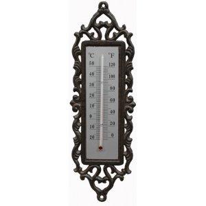 ecoSoul Gartendeko Wanddekoration Thermometer außen Wandthermometer Gusseisen dunkelrostfarben