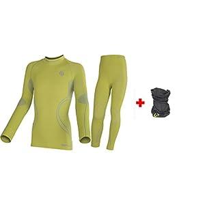 Brubeck® Thermo Set Kinder/Junior Funktionsunterwäsche-Set | Shirt + Hose | Sportwäsche | Hochwertig | Nahtlos | Thermowäsche | Pflegeleicht