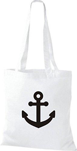 JUTA Borsa di stoffa per barca ancora SKIPPER CAPITANO Bianco