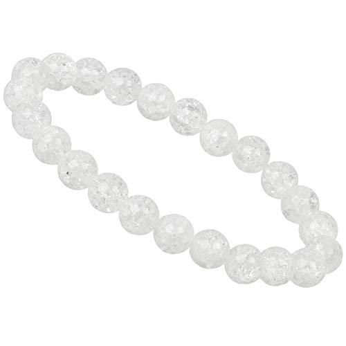 ELEDORO Edelstein Perlen Armband Bergkristall Crashed 8mm für Damen und Herren